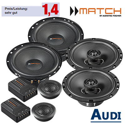 Audi-TT-8N-Lautsprecher-Set-vordere-hintere-Einbauplätze