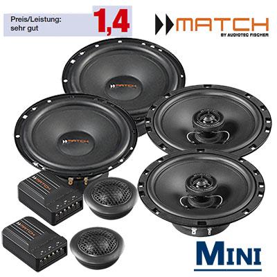 Mini-Cooper-R52-Cabrio-Lautsprecher-Set-vordere-hintere-Einbauplätze