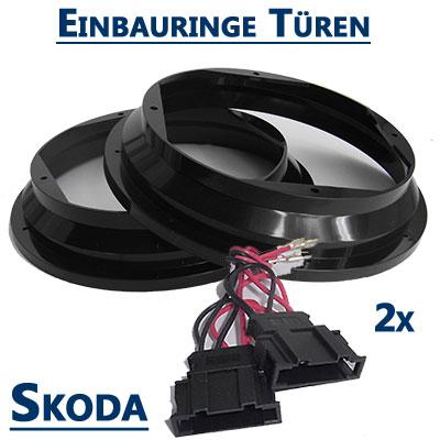Skoda-Octavia-II-Lautsprecher-Einbauringe-20cm-vordere-Türen