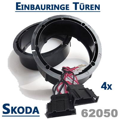 Skoda-Superb-II-Lautsprecher-Einbauringe-vordere-und-hintere-Türen