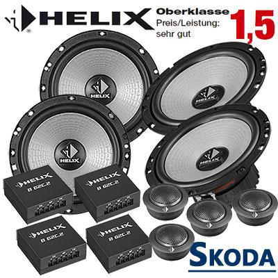 Skoda-Superb-II-Lautsprecher-Set-Oberklasse-vorne-und-hinten