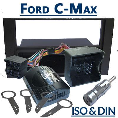 Ford-C-Max-Lenkrad-Fernbedienung-Adapter-mit-Autoradio-Einbauset