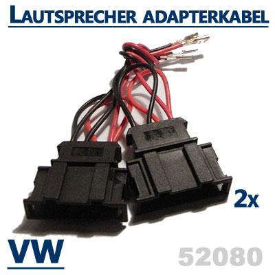 VW-Scirocco-III-2x-Lautsprecher-Adapterkabel-für-die-hinteren-Einbauplätze