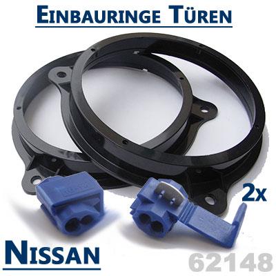 Nissan-Tiida-Lautsprecher-Einbauringe-vordere-Türen